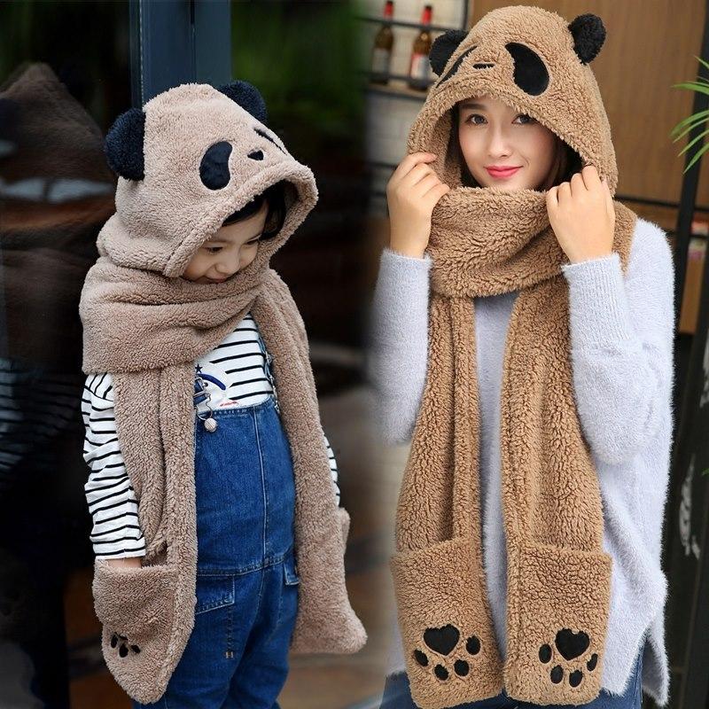 海豚家2017韩版加厚可爱亲子女冬季户外保暖帽子围巾手套三件一体