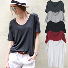 T-shirt female short-sleeved summer Korean version of the mercerized cotton solid color large size simple V collar Modal loose compassionate shirt U