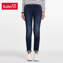 Baleno Baleno Korean washed skinny jeans womens slim waist and feet pencil pants in the tide