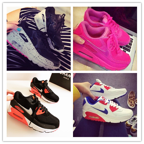 Autumn and winter color thick soled sports shoes, wind Metrosexual Korean Air max90 shoes Korean women Sao powder