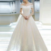 Bridal gown, 2017 new bride, summer long tail, Korean palace yard, luxury, simple, word, shoulder, wedding dress