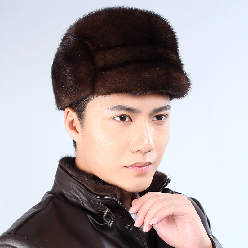 The new 2015 winter mink straw hat for man Mink leather the sable cap outdoor earmuffs warm hat middle-aged and old