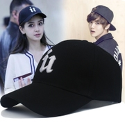 The spring and summer men's Baseball Cap Hat female leisure all-match Korean tide peaked cap black sun visor cap