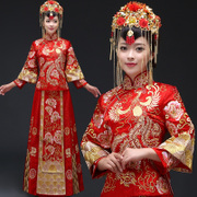 The new Chinese cheongsam Retro Red Suit Dress Bride toast clothing Xiuhe wedding gown dragon costume show kimono