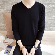 Korean men in autumn and winter slim sleeve head V collar long sleeved sweater cashmere coat with men thick sweater