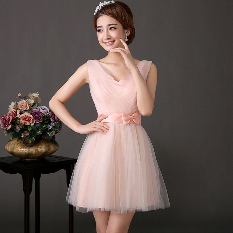 Han edition bridesmaid dresses short bridesmaid dresses in the autumn of 2015 the new sisters dress evening dress dress can be customized