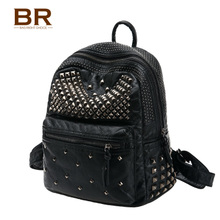 Washed leather rivet backpack backpack female fashion handbags small travel bag Korean Pu 2016 new tide