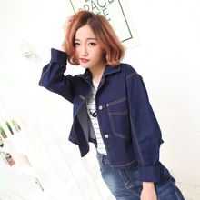2016 new spring big European and American blue single breasted short denim jacket female blouse