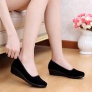 Authentic old Beijing shoes shoes shoes wedges with set foot shoes black hotel occupation soft bottom shoes