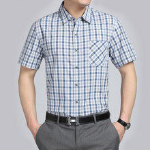 The middle-aged male short sleeved shirt in casual clothes wash soil elderly father summer man small lattice of father's Day