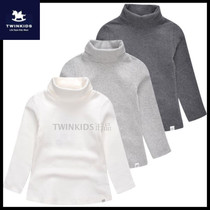 Korea TWINKIDS little Trojans fall winter childrens clothing childrens cotton Turtleneck long sleeve t-shirt warm base coat