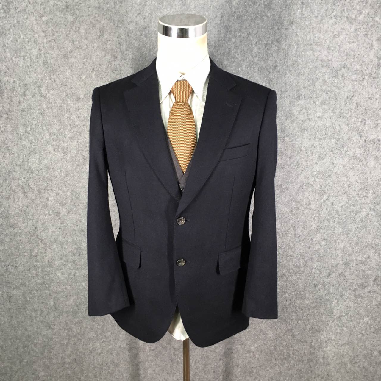 A480 Vintage Mens Pierre home classic retro Nissan thick dark blue wool suit 175 slim
