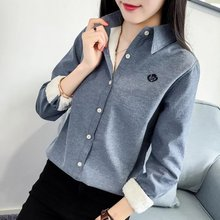 Wan's new Korean fan and cashmere coat all-match warm shirt shirt thickening student female long sleeved shirt