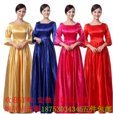 Sleeve group chorus costumes from old costume in long skirts no sequins chorus solo evening dresses