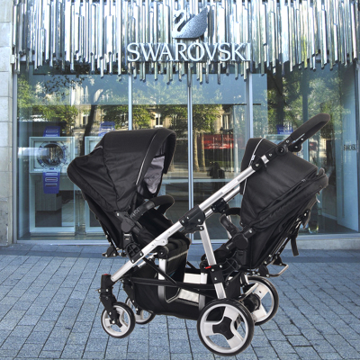 Netherlands EasyWalker twin strollers to sit can lay double stroller folding lightweight