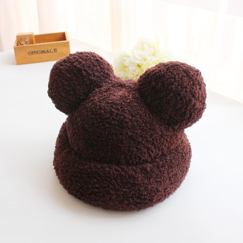 可爱针织熊耳朵动物毛绒帽子女秋冬季加厚保暖毛线帽韩版潮护耳帽