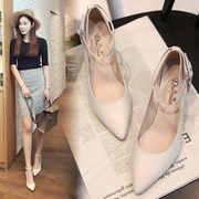 Short heels and new women's pointed shoes with 3 low heeled shoes