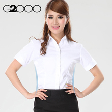 Short sleeved shirt waist slim size women's shirt collar occupation V solid slim DP new summer shirt