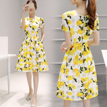 European goods 2018 spring and summer new women's tide Korean version of the long paragraph printed dress women's fashion Slim A skirt