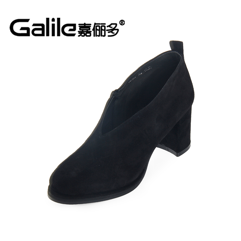 Jia Li 2016 new fall thick high-heeled shoes Wowo Jing sheep