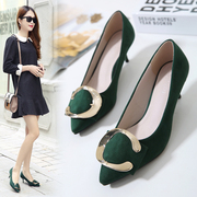 Spring shoes 2017 new Korean all-match pointed shallow mouth with black shoes with thin high-heeled shoes