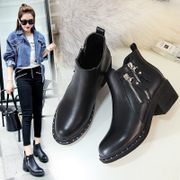 ZHR2017 autumn and winter boots Chelsea new British style boots single female high-heeled boots Martin boots with thick boots