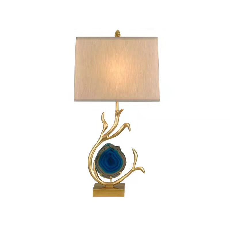 All brass desk lamp, natural agate lamp, designer, sales department, model room, decorative desk lamp