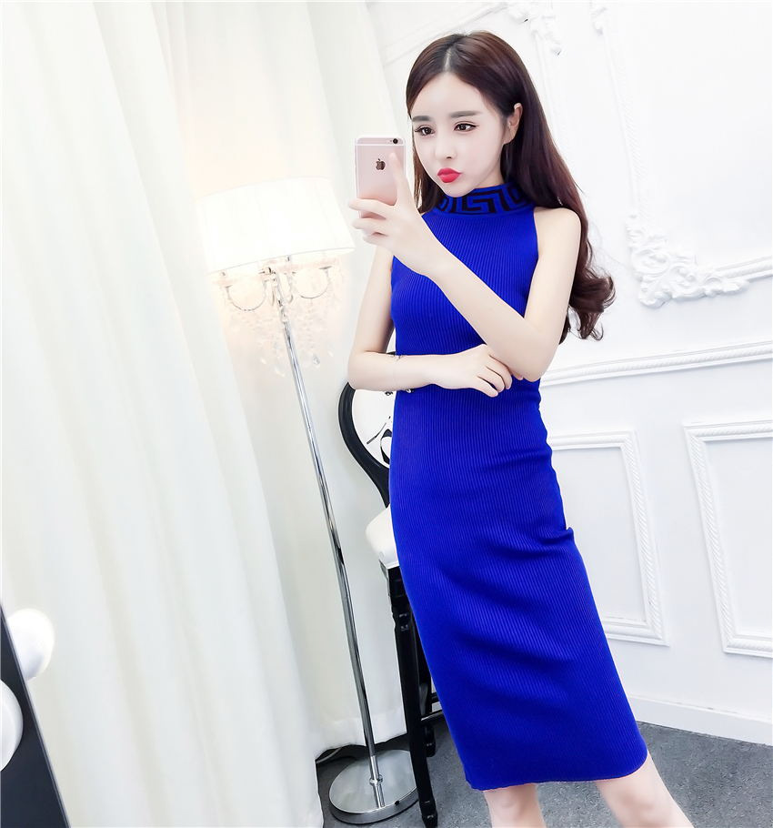 2017 summer new fashion han edition cultivate one's morality show thin knitting neck hung package buttocks short skirt cheongsam dress is female