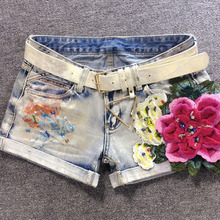 Europe spring 2017 European goods tide Red Rose Silk curling loose bronzing denim shorts shorts female personality