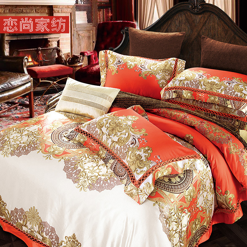 Love, home textile, high-grade villa, model room, soft bed, soft bed, European bed sheet, four pieces of bedding, high end atmosphere