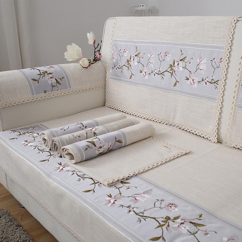美式棉麻仿亚麻沙发垫四季通用布艺沙发巾靠背巾扶手巾简约现代