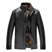 Autumn and winter middle-aged men's leather casual jacket with cashmere leather jacket collar father put old clothes leather PU