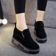 Spring and autumn shoes increased shoes Lady Liberty thick soled sports shoes black muffin set foot lazy shoes tide