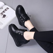 In the autumn of 2017 new black shoes increased ladies shoes all-match Korean muffin with thick soles slope