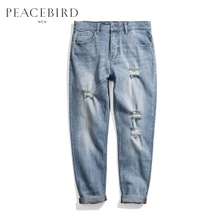 Pacific bird men's 2018 summer new hole pants washed nine Inseam jeans pants men's straight leg pants