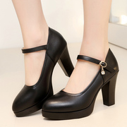 The high-heeled shoes black dress code Taiwan waterproof T model with coarse shoes occupation work shoes shoes.