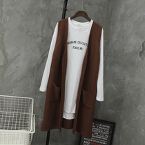 Autumn new South Korean version of the sweater vest Cardigan vest wool long coat without cuffs bags women