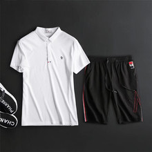 Purchasing Mengkou / Moncler18 summer new men's short-sleeved shorts two-piece casual sports suit