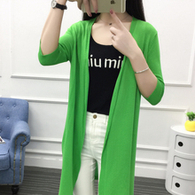 Long summer girls knit cardigan jacket sleeve loose sunscreen size thin a hollow air jacket