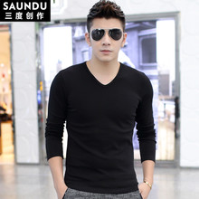 Long sleeve shirt collar male Modaier V solid colored body warm autumn clothes with thick velvet shirt shirt shirt