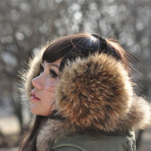 2015 big raccoon fur leather earmuffs fox fur ear cover their ears warm winter warm earmuffs ear ear nest wholesale