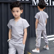 6 children wear short sleeved summer suit children 2017 Boys 8 new 9 cotton two piece 12-15 years old boy