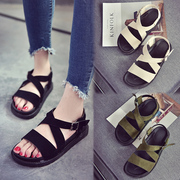 2017 new Korean all-match thick soled sandals female students' leisure summer a cake with a toe shoes tide