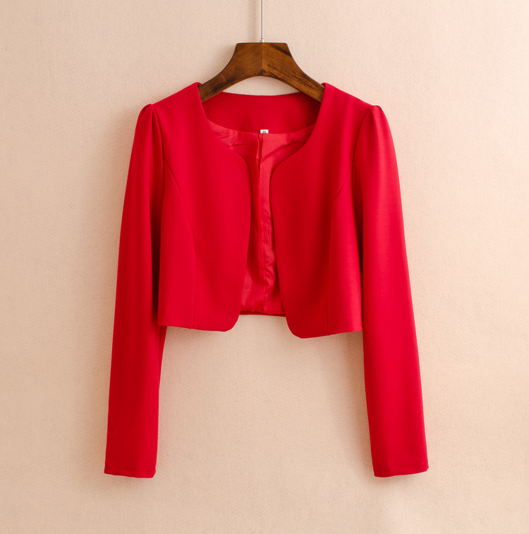 The new spring little red coat female all-match fichu dress up short sleeved dress small vest