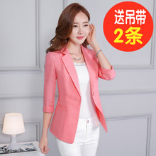 Summer new cotton thin section small suit female jacket short paragraph Korean version of Slim casual linen linen wild suit