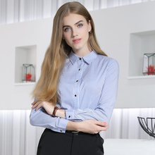 Long sleeved jacket autumn 2017 new female fashion slim slim blue striped shirt shirt size small fresh