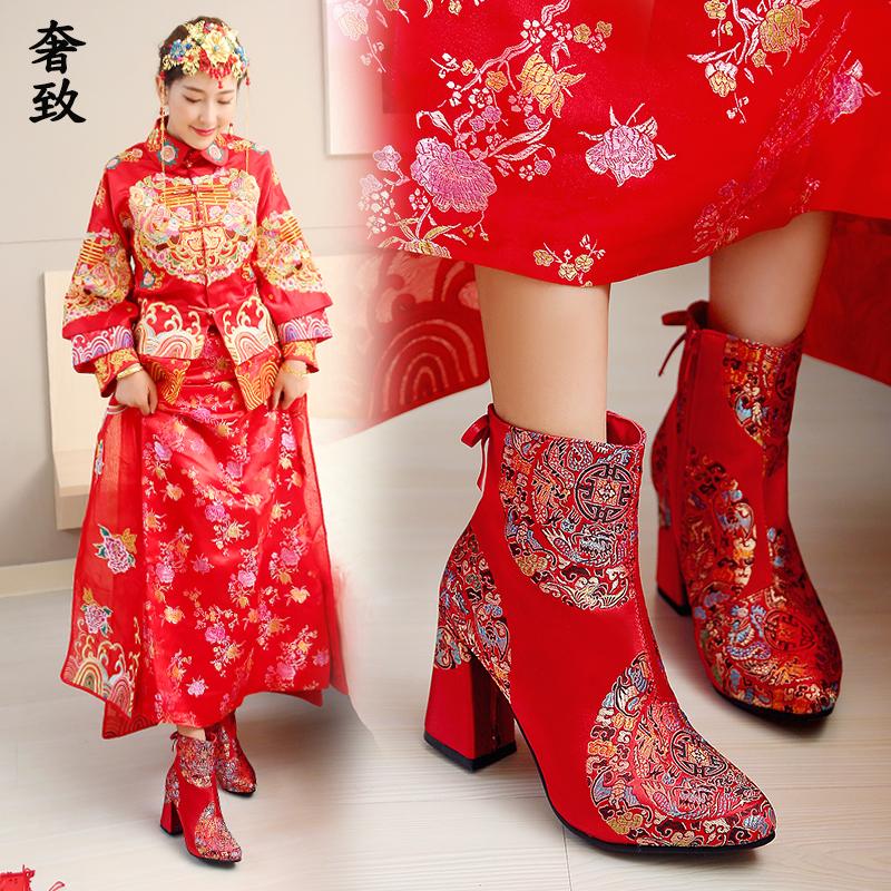加绒新娘鞋子女2017新款结婚红鞋红色高跟粗跟秋冬季秀禾婚鞋绣花