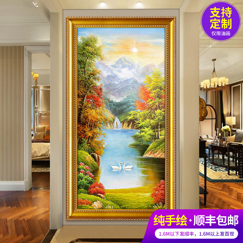 Hand painted oil painting landscape Swan Lake living room hanging painting villa corridor mural porch decoration painting customization