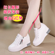 The increase in women's white shoes fall 2017 new all-match slope with casual shoes high-heeled shoes with thick soles Muffin