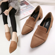 Special offer every day new Korean all-match pointed deep high-heeled fashion with shoes with coarse occupation.